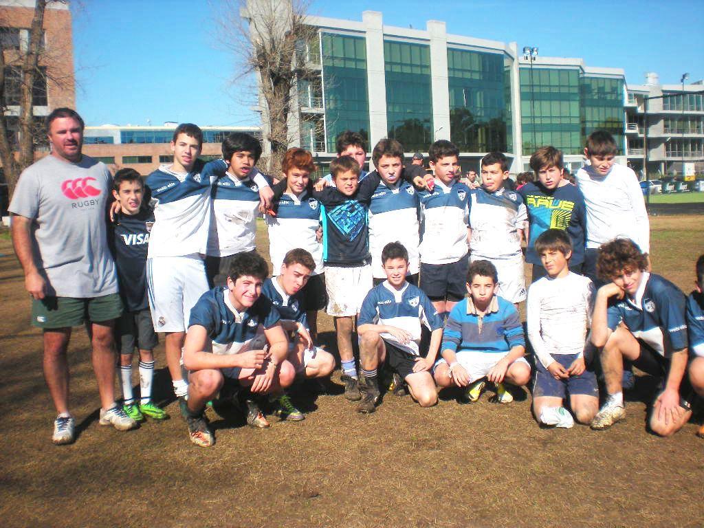 Hebraica's under-11 and under-13 youth rugby teams. (Diego Melamed/JTA)