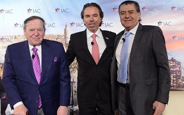 From left to right: Sheldon Adelson, IAC National Chairman Shawn Evenhaim and Haim Saban. (Photo credit: Shahar Azran)
