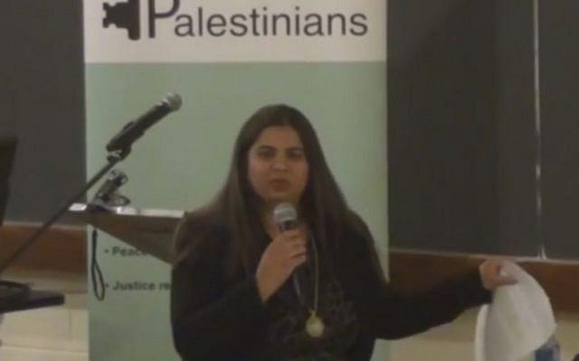 Saima Jamal speaking in April. (Screen capture: YouTube)