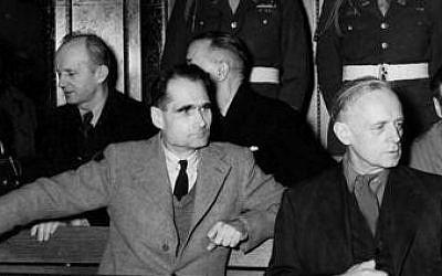 Nazi war criminals Rudolf Hess (left) and Joachim von Ribbentrop in the defendants' box during the 1946-7 Nuremberg trials. (Truman Library/Wikipedia)
