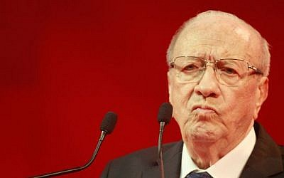 Tunisian President Beji Caid Essebsi delivering a speech during an electoral meeting in Tunis, Tunisia, Saturday, November 15, 2014 (AP/Aimen Zine)