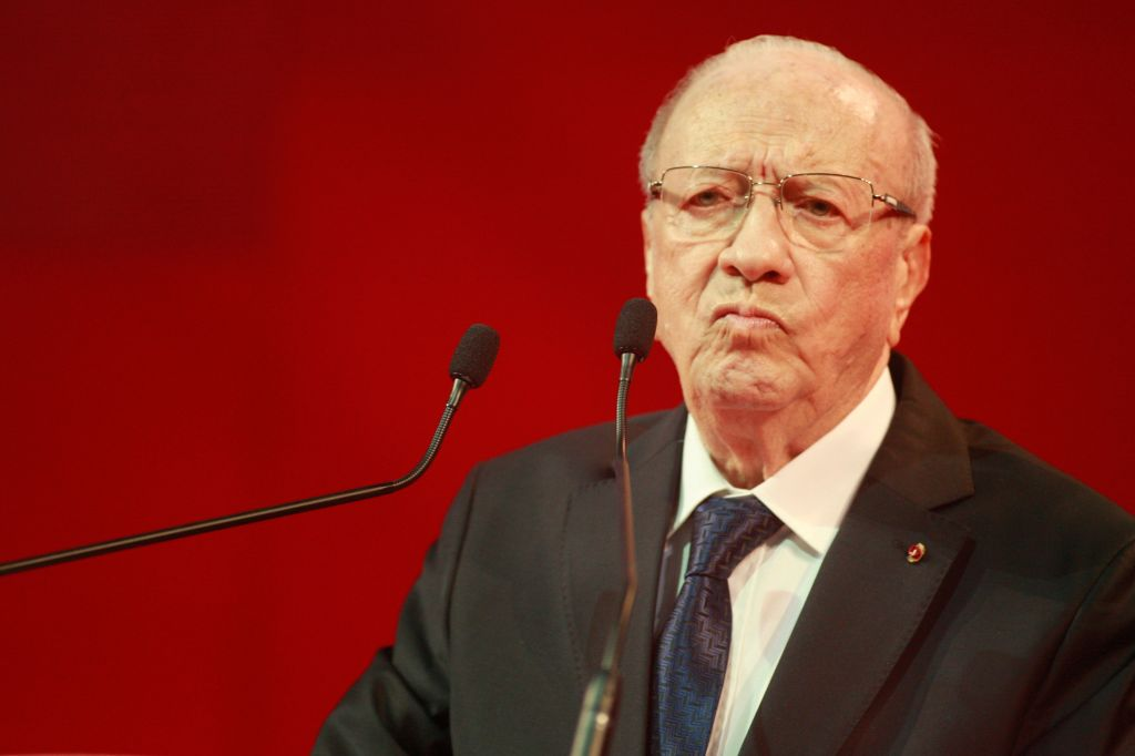Nidaa Tounes party leader Beji Caid Essebsi pauses as he delivers a speech during an electoral meeting in Tunis, Tunisia, Saturday, Nov. 15, 2014 (photo credit: AP/Aimen Zine)