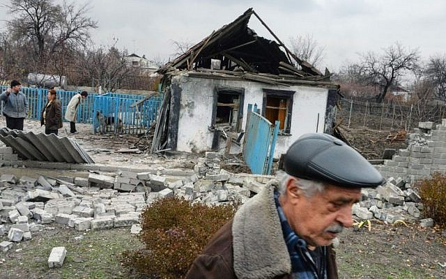 A home damaged by shelling in Donetsk, Eastern Ukraine, November 12, 2014. (photo credit: AP/Mstyslav Chernov)