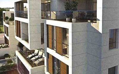A rendering of the new condo project The Hamptons in Herzliya Pituach, a brainchild of Rabbi Marc Schneier of The Hampton Synagogue in Westhampton Beach, N.Y. (Courtesy The Hampton Synagogue/via JTA)