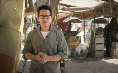Jewish-American filmmaker J.J. Abrams on the set of 'Star Wars: The Force Awakens' in May 2014. (screen capture: YouTube/Star Wars)