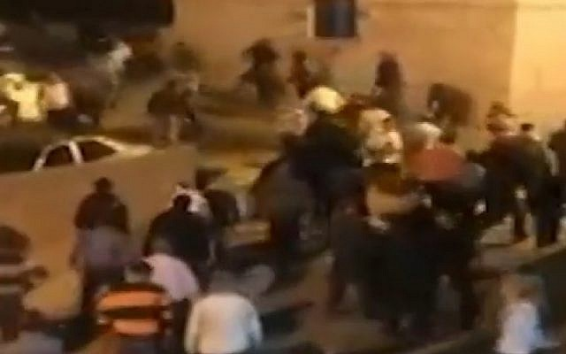 Screenshot from a Ynet video of the violent brawl in Abu Snan on November 14, 1014 between members of the Galilee village's Muslim and Druze community members.