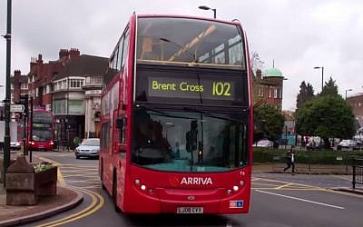 A No. 102 bus in Golders Green, London (screen capture: YouTube/Micheal J. M)