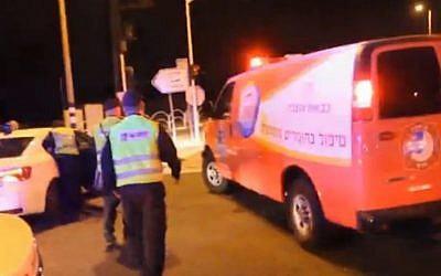 Emergency units at the scene of a chemical leak in Emek Hefer on November 6, 2014. (Screen capture: Ynet)