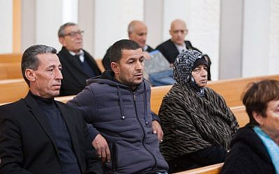 Family of Palestinian terrorist Mohammad Jaavis  at the Supreme Court, appealing demolition orders of their home in Jerusalem on November 24, 2014.  (Photo credit: Yonatan Sindel/Flash90)