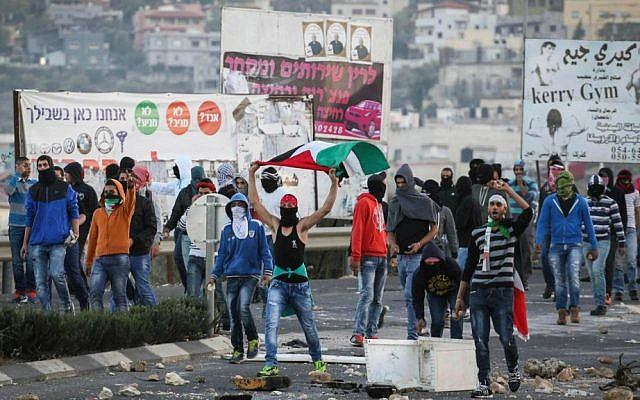 Arab youth seen waving the Palestinian flag and throwing rocks towards Border Police at the entrance to the Arab village Kafr Kanna, November 8, 2014. (Hadas Parush/Flash90)