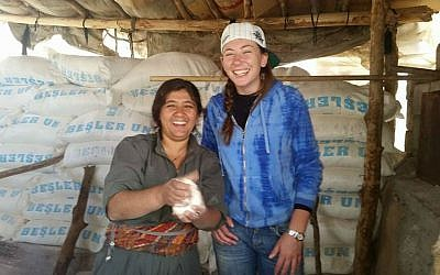 Gill Rosenberg posing with a friend in a photo which is presumed to have been taken in Iraq and which was uploaded to Facebook on November 9, 2014, (photo credit: Facebook)