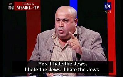 Jordanian MP Khalil Attieh speaking with Roya TV on November 26, 2014. (screen capture: YouTube/MEMRITVVideos)