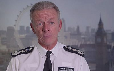 Scotland Yard Commissioner Bernard Hogan-Howe (photo credit: YouTube screenshot)