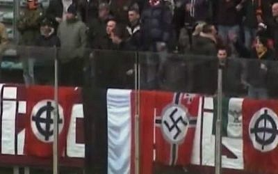Italian neo-Nazis at a soccer match (illustrative screen capture: YouTube)