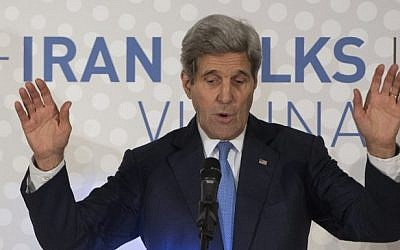 US Secretary of State John Kerry delivers a statement in Vienna on the status of negotiations over Iran's nuclear program, on November 24, 2014. (photo credit: AFP/Joe Klamar)