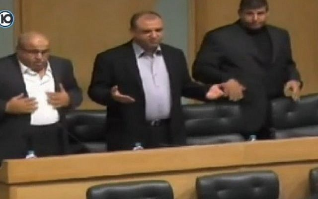 Screenshot from a Channel 10 report on November 19, 2014 on the Jordanian Parliament's moment of silence for the two Palestinian terrorists who killed five people in a terror attack on a Jerusalem synagogue on November 18, 2014.