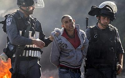 Israeli police detain an Arab rioter in Kafr Kanna, November 9, 2014. (photo credit: AFP)