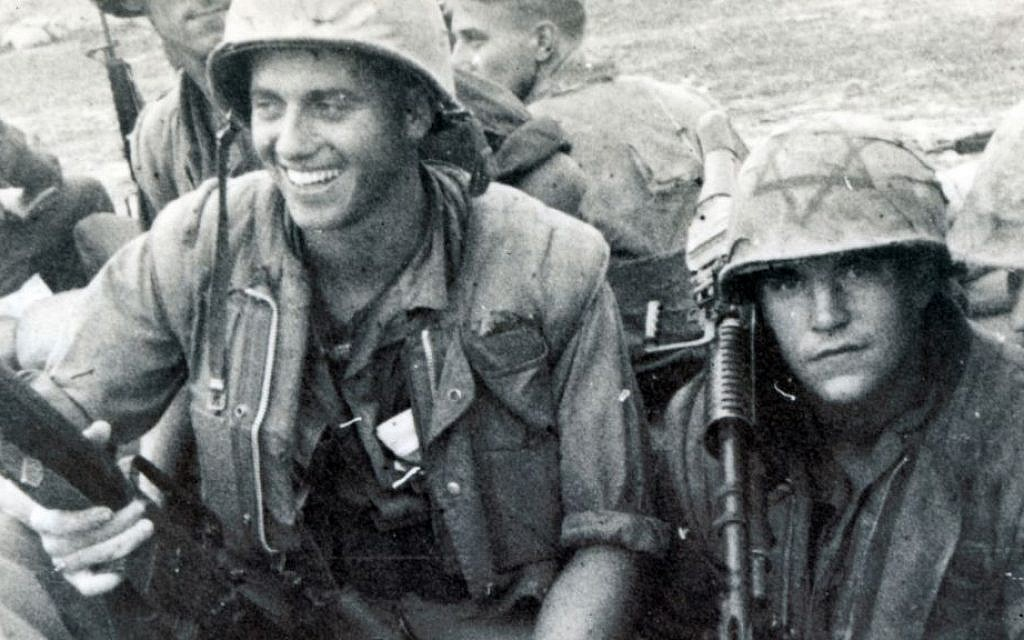 A U.S. Marine in Vietnam featuring a Magen David on his helmet, circa 1968 (Courtesy National Museum of American Jewish Military History/JTA)