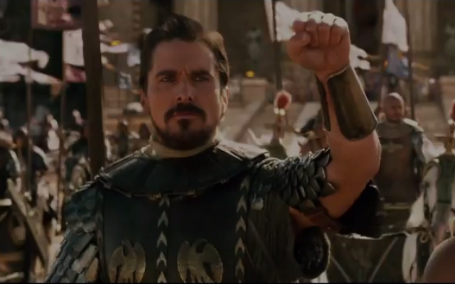 A screenshot of Christian Bale as Moses in the film Exodus: Gods and Kings. (screen capture: YouTube/20th Century Fox)