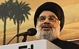 Hezbollah leader Hassan Nasrallah addresses supporters in Beirut, Lebanon, on November 3, 2014. (AFP/STR)