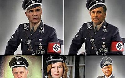 Israeli politicians depicted as Nazis. (photo credit: Facebook screen capture)