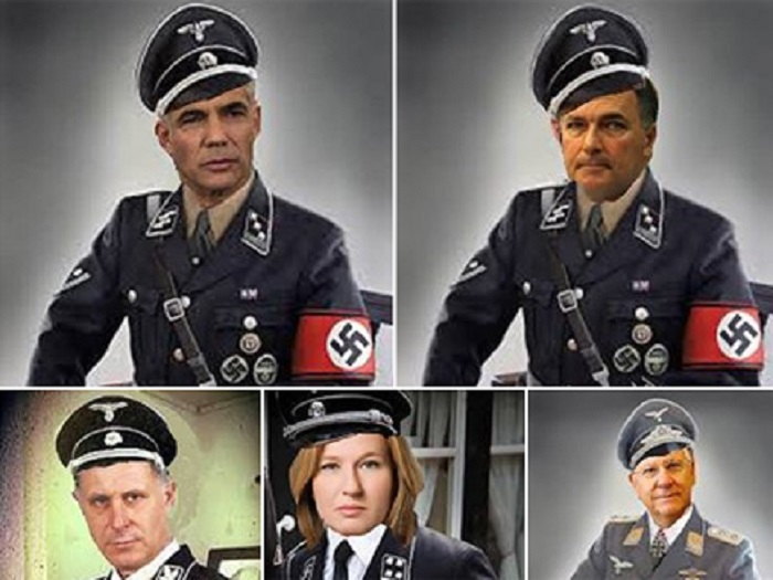 Israeli politicians depicted as Nazis. (Screen capture)