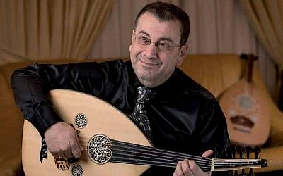 Taiseer Elias on his oud, his instrument of choice whether onstage or in class (Courtesy Bar Ilan University)