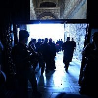 Soldiers secure the entrance of the Hagia Sophia Mosque (Santa Sofia) during Pope Francis visit on November 29, 2014 in Istanbul. (Photo credit: AFP PHOTO / FILIPPO MONTEFORTE)