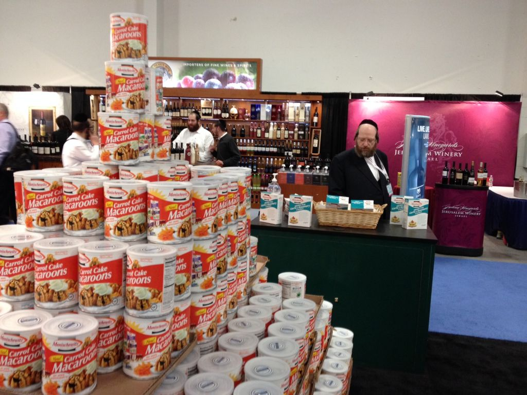 Profits from Kosher products are even higher than this tower of Manischewitz macaroons. (Jesse Lempel/The Times of Israel)