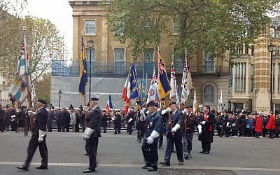 Jewish former servicemen march in the annual Association of Jewish ex-Servicemen and Women parade in London, November 16, 2014. (Jennifer Lipman/The Times of Israel)