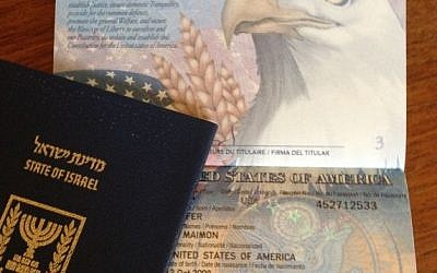 Any passport issued since 2002 to a US citizen born in Jerusalem lists the city rather than Israel, the country, as the place of birth (photo credit: Jessica Steinberg/Times of Israel)