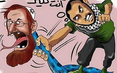A cartoon that appeared in Palestinian newspaper The Capital City, glorying Yehudah Glick's assailant, on November 13, 2014 (Photo credit: Palestinian Media Watch)