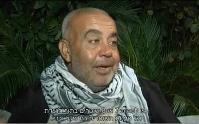 Rauf Hamdan, father of slain 22-year-old Kheir, who was shot by police after he ran at a cruiser with a knife, speaks to Israeli media (screen capture: Ynet)
