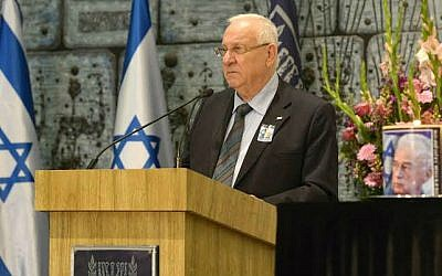 Presdient Reuven Rivlin speaking at a memorial marking the 19th anniversary of the assassination of prime minister Yitzhak Rabin, Tuesday, Nov 4, 2014 (photo credit: Mark Neyman/GPO)