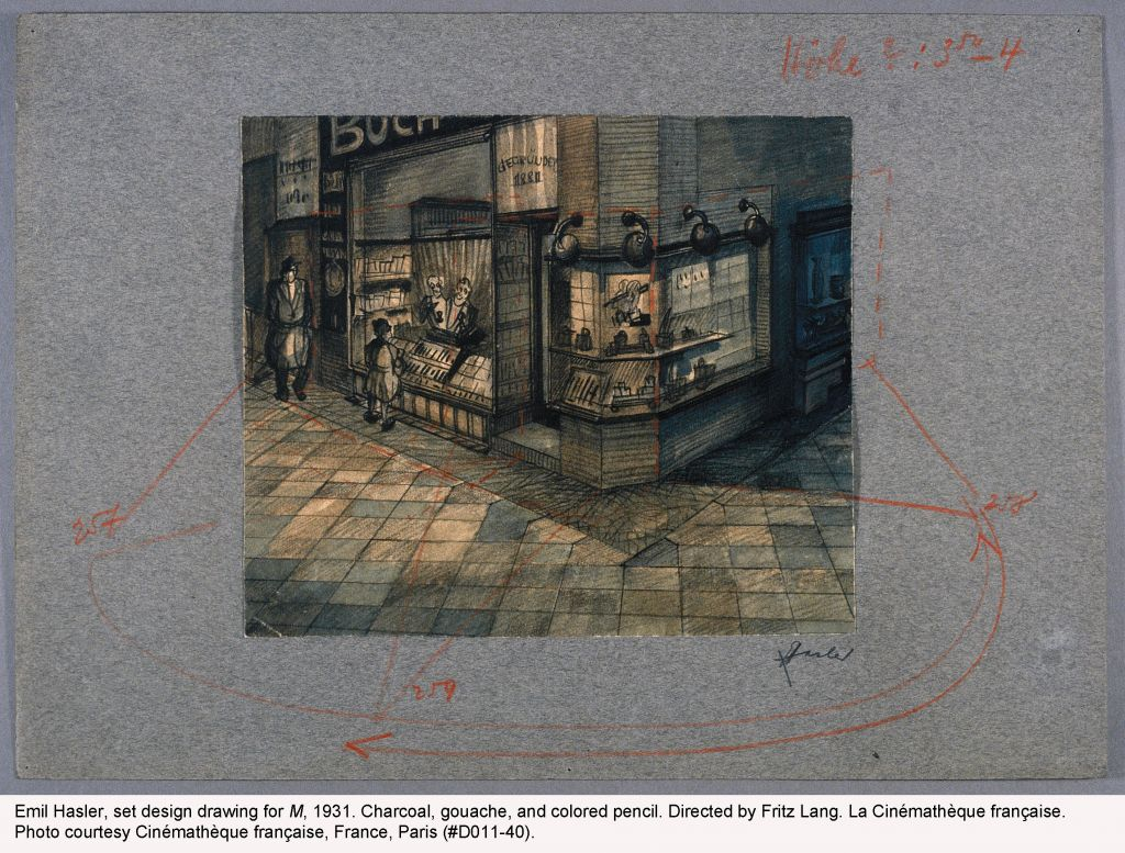 A set design for Fritz Lang's German Expressionist proto-noir film M. (Courtesy of Cinematheque Francaise/via JTA)