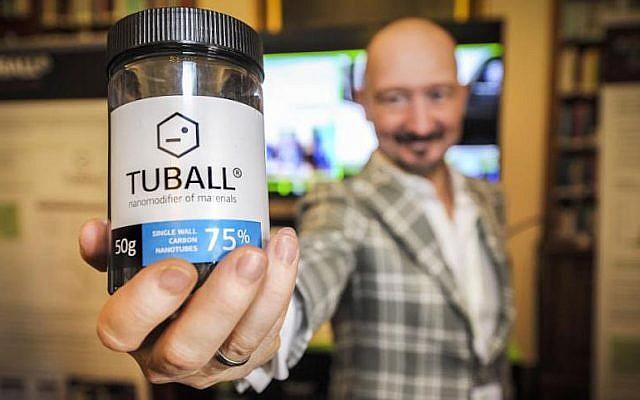 Yuri Koropachinsky, President, OCSiAl Group, demonstrating Tuball, the world's first commercially viable single walled carbon nanotubes (Photo credit: Courtesy)