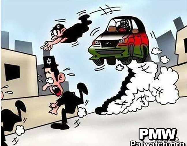 A screenshot from a cartoon published on the Facebook page of the Fatah movement depicting three Jews fleeing as a car driven by a Palestinian tries to run them over, November 2014.