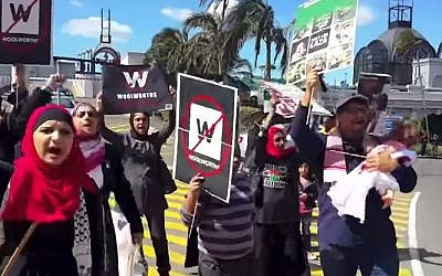 BDS activists rally outside a Woolworths department store (photo credit: YouTube screenshot)