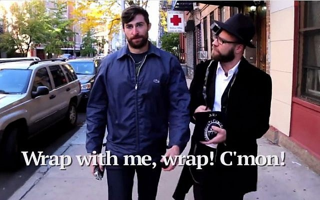 Scott Rogowsky is harassed on the streets of New York by Orthodox men in his parody video. (YouTube screenshot)