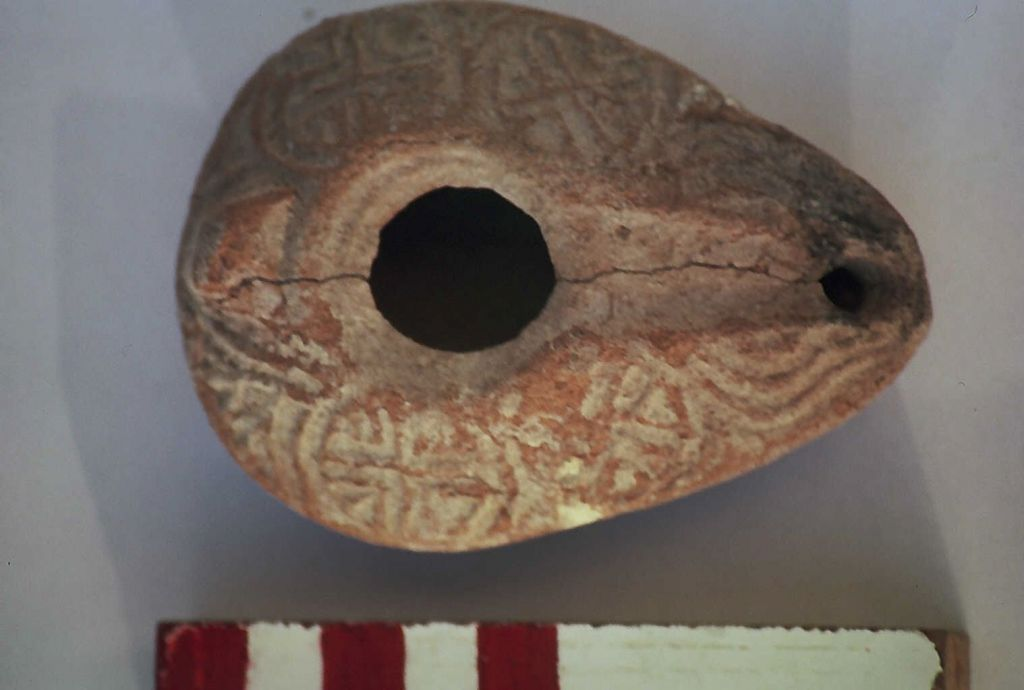 An ancient oil lamp found in Bethlehem of the Galilee that is from the time of Jesus (Courtesy Aviram Oshri)