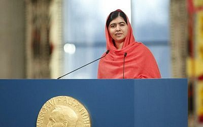 Nobel Peace Prize laureate Malala Yousafzai gives a speech during the Nobel Peace Prize awards ceremony at the City Hall in Oslo, Norway, on December 10, 2014. (photo credit: AFP/NTB SCANPIX/CORNELIUS POPPE)