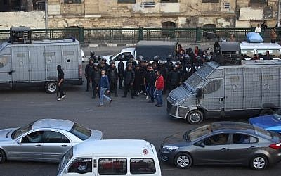 Egyptian police deploy in the Egyptian capital Cairo during a demonstration, December 5, 2014. (photo credit: AFP/MOHAMED EL-SHAHED)