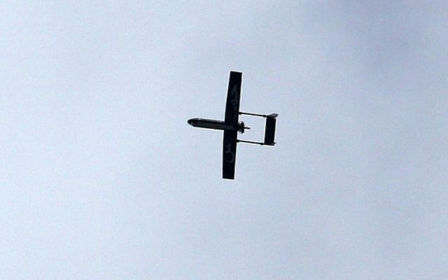 Illustrative: A drone belonging to the al-Qassam Brigades, Hamas' armed wing, flies over Gaza City on December 14, 2014. (photo credit: AFP/MAHMUD HAMS)