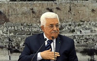 Palestinian Authority President Mahmoud Abbas speaks during a meeting of the Palestinian leadership in the West Bank city of Ramallah, on December 14, 2014. (photo credit: AFP/Abbas Momani)