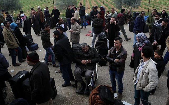 Palestinians at the Rafah border crossing between Egypt and southern Gaza Strip The Palestinian bureau of statistics predicts that by 2016 there will be more Palestinians in 'historic Palestine' than Jews. (Said Khatib/AFP)