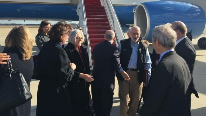 Alan Gross as he arrives from Cuba to Andrews Air Force Base, Maryland, December 17, 2014. (AFP/JEFF FLAKE/HANDOUT)