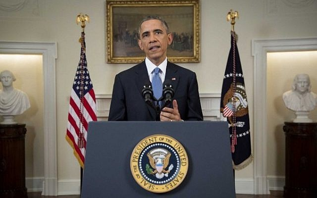 US President Barack Obama delivers an address to the nation from the Cabinet Room of the White House, on December 17, 2014. (photo credit:AFP/POOL / DOUG MILLS)