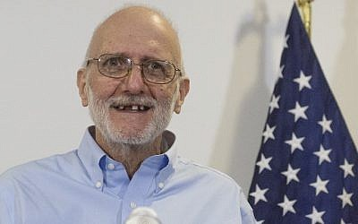 Alan Gross speaks during a press conference after being released by Cuba, December 17, 2014, Washington, DC. (photo credit: AFP/Saul Loeb)