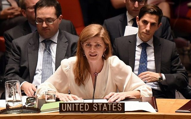 US Ambassador to the United Nations Samantha Power talks during a previous Security Council meeting, on December 22, 2014 at the United Nations in New York. (Don Emmert/AFP)