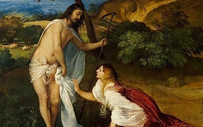 Illustrative: Detail from 'Noli me tangere' by Titian, c. 1512, depicting a meeting between Jesus and Mary Magdalene. (public domain via wikipedia)